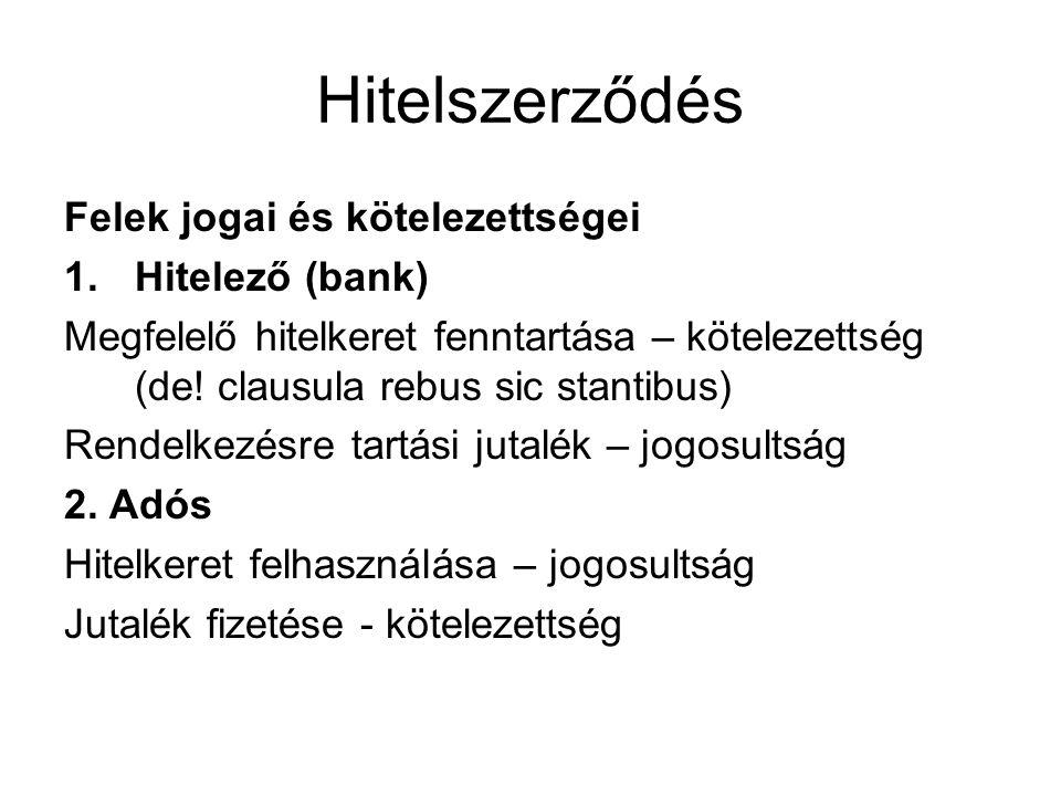 Hitelszerződés Felek jogai és kötelezettségei 1.Hitelező (bank) Megfelelő hitelkeret fenntartása – kötelezettség (de! clausula rebus sic stantibus) Re