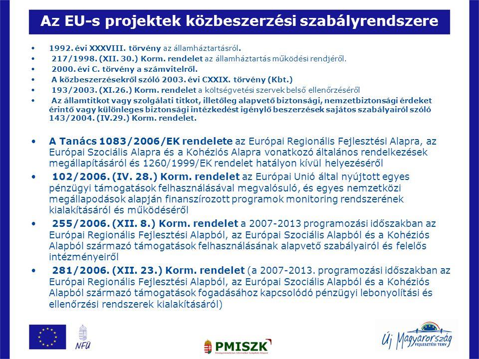 Az EU-s projektek közbeszerzési szabályrendszere •1992. évi XXXVIII. törvény az államháztartásról. • 217/1998. (XII. 30.) Korm. rendelet az államházta