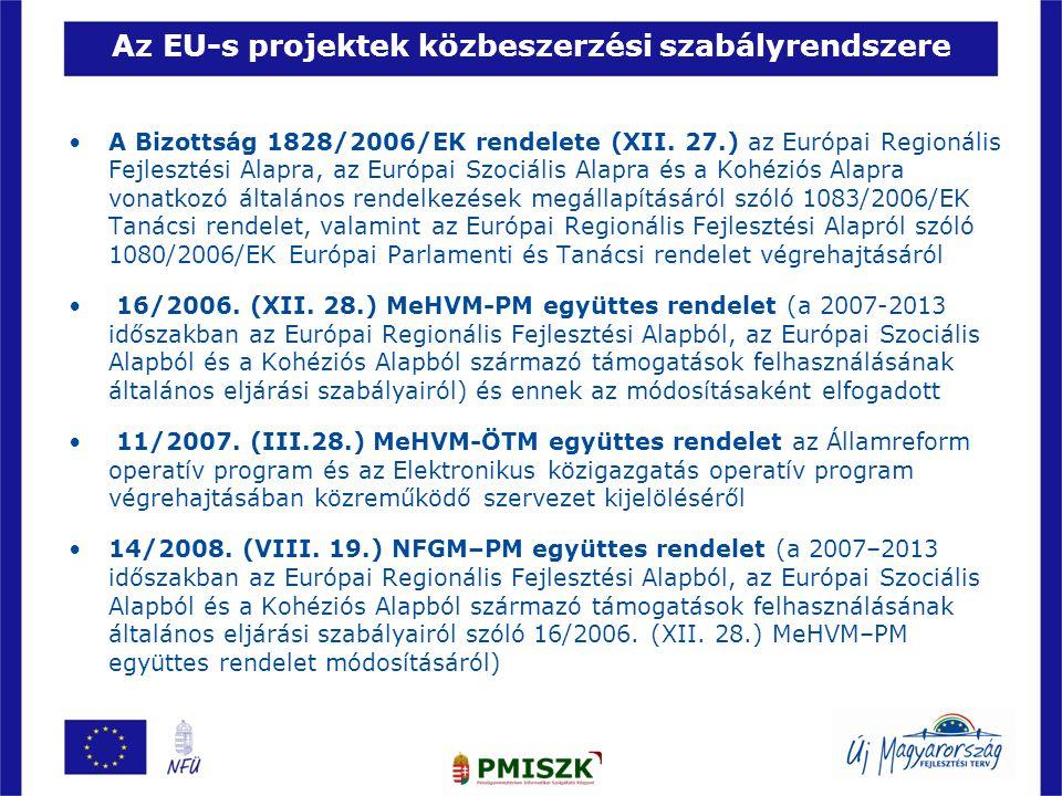 Az EU-s projektek közbeszerzési szabályrendszere •A Bizottság 1828/2006/EK rendelete (XII. 27.) az Európai Regionális Fejlesztési Alapra, az Európai S