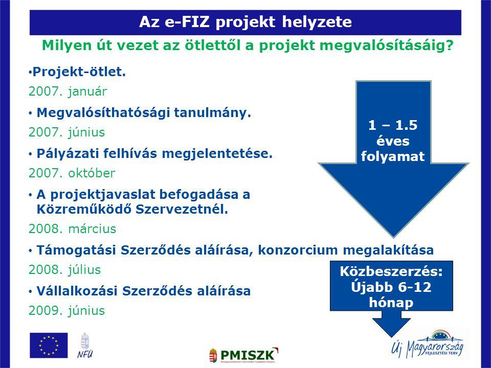 Az e-FIZ projekt helyzete Milyen út vezet az ötlettől a projekt megvalósításáig? 17 • Projekt-ötlet. 2007. január • Megvalósíthatósági tanulmány. 2007