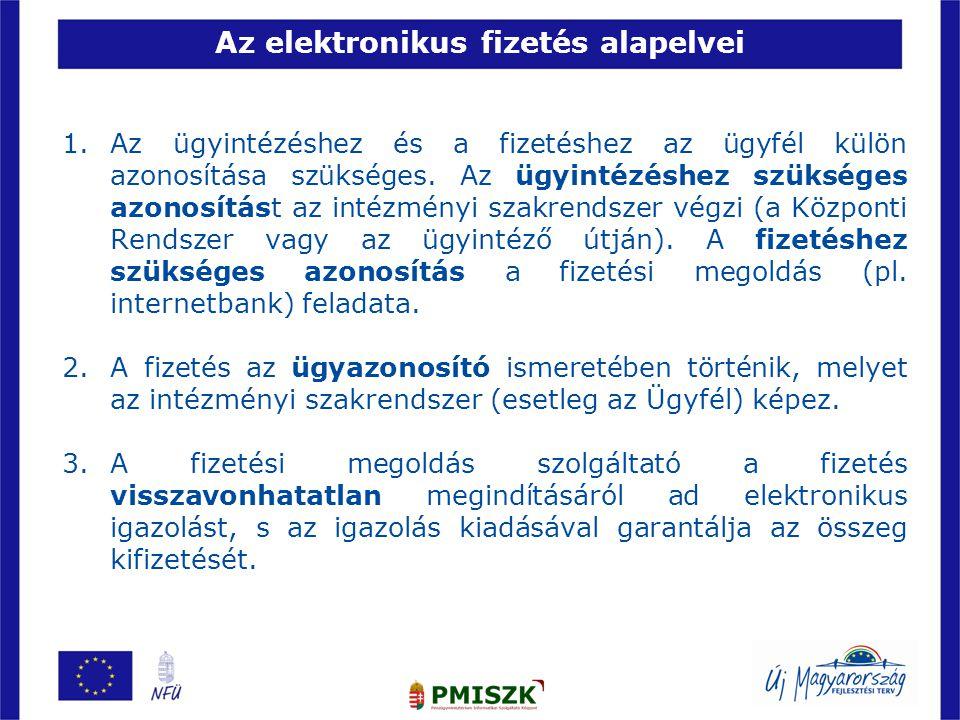 Az elektronikus fizetés alapelvei 1.Az ügyintézéshez és a fizetéshez az ügyfél külön azonosítása szükséges.