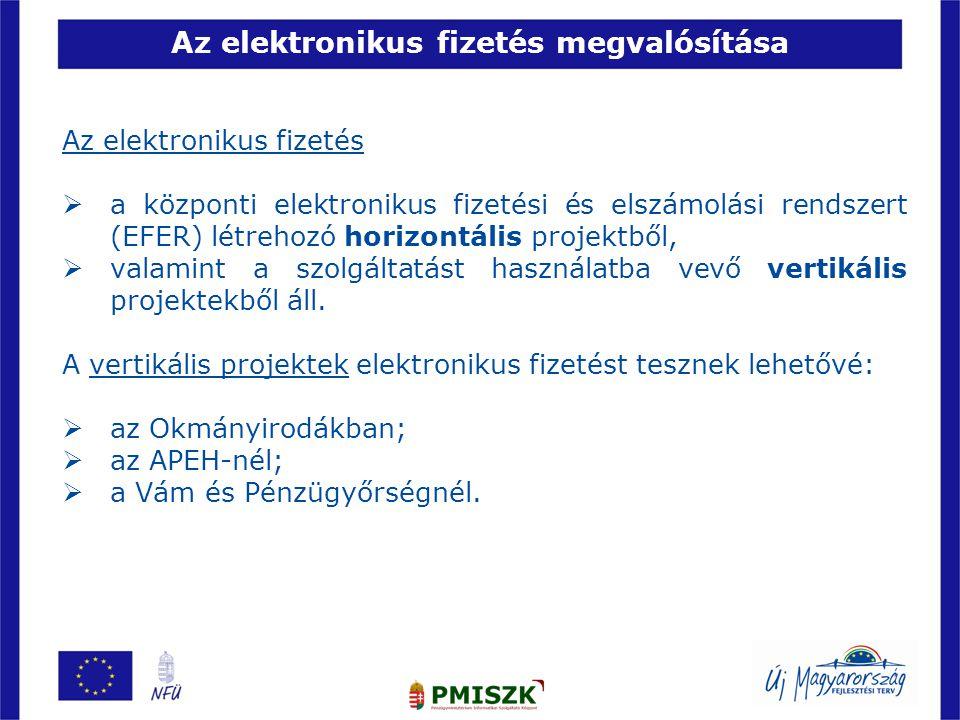Az elektronikus fizetés megvalósítása Az elektronikus fizetés  a központi elektronikus fizetési és elszámolási rendszert (EFER) létrehozó horizontáli