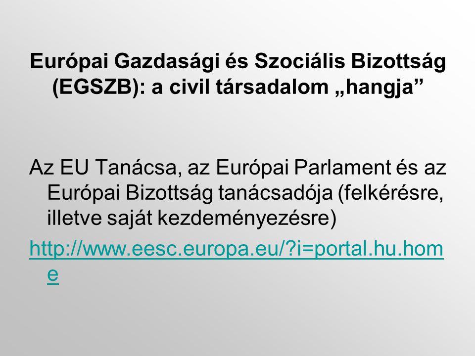 """Európai Gazdasági és Szociális Bizottság (EGSZB): a civil társadalom """"hangja Az EU Tanácsa, az Európai Parlament és az Európai Bizottság tanácsadója (felkérésre, illetve saját kezdeményezésre) http://www.eesc.europa.eu/ i=portal.hu.hom e"""