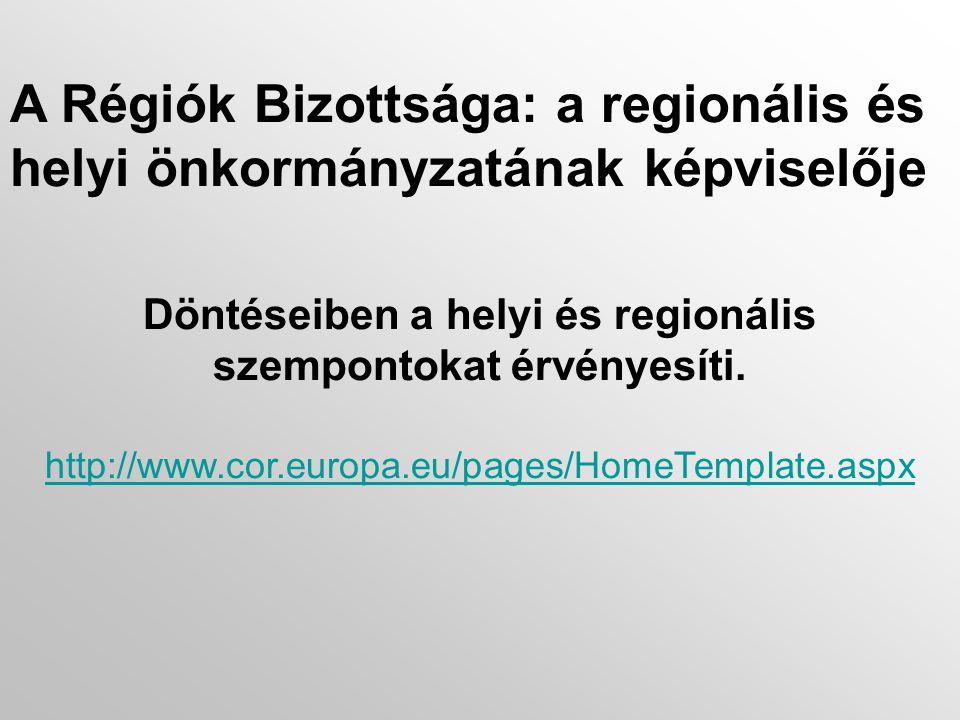 A Régiók Bizottsága: a regionális és helyi önkormányzatának képviselője Döntéseiben a helyi és regionális szempontokat érvényesíti.