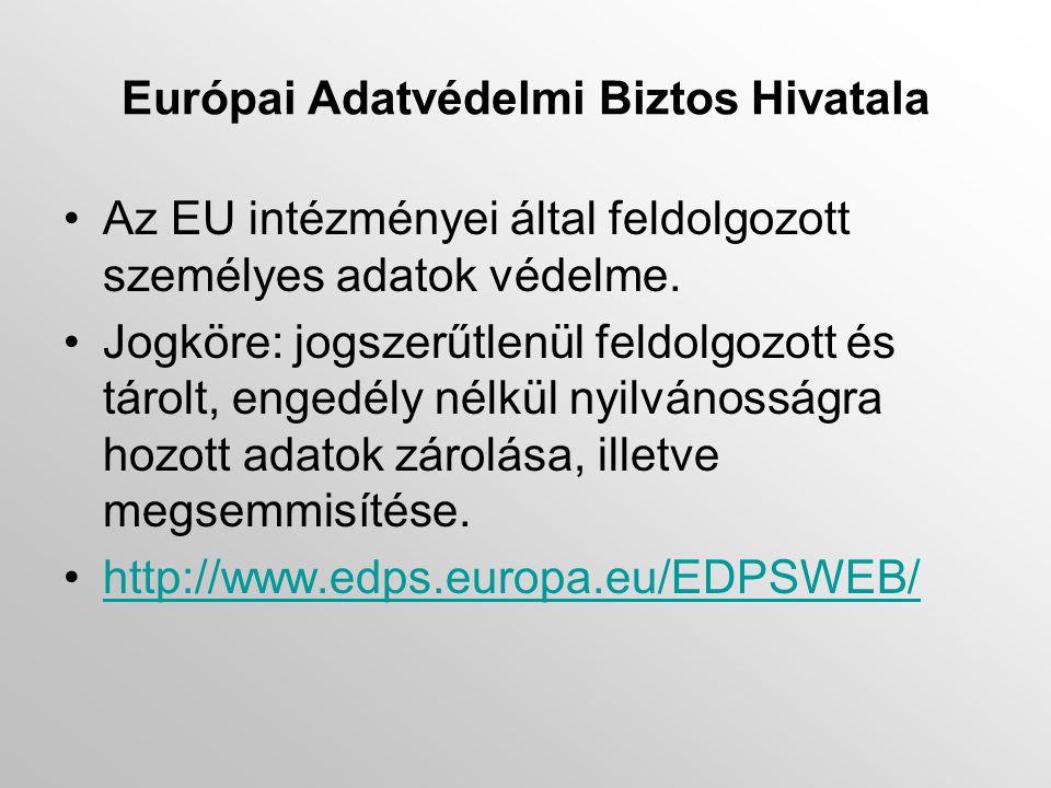 Európai Adatvédelmi Biztos Hivatala •Az EU intézményei által feldolgozott személyes adatok védelme.