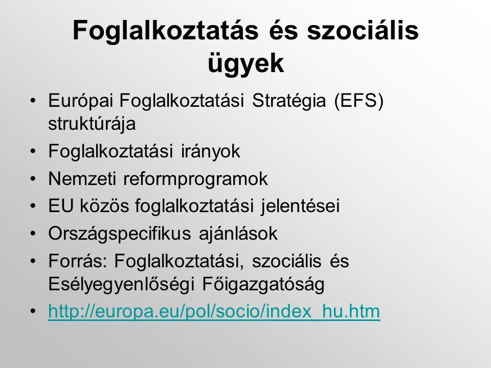 Foglalkoztatás és szociális ügyek •Európai Foglalkoztatási Stratégia (EFS) struktúrája •Foglalkoztatási irányok •Nemzeti reformprogramok •EU közös foglalkoztatási jelentései •Országspecifikus ajánlások •Forrás: Foglalkoztatási, szociális és Esélyegyenlőségi Főigazgatóság •http://europa.eu/pol/socio/index_hu.htmhttp://europa.eu/pol/socio/index_hu.htm