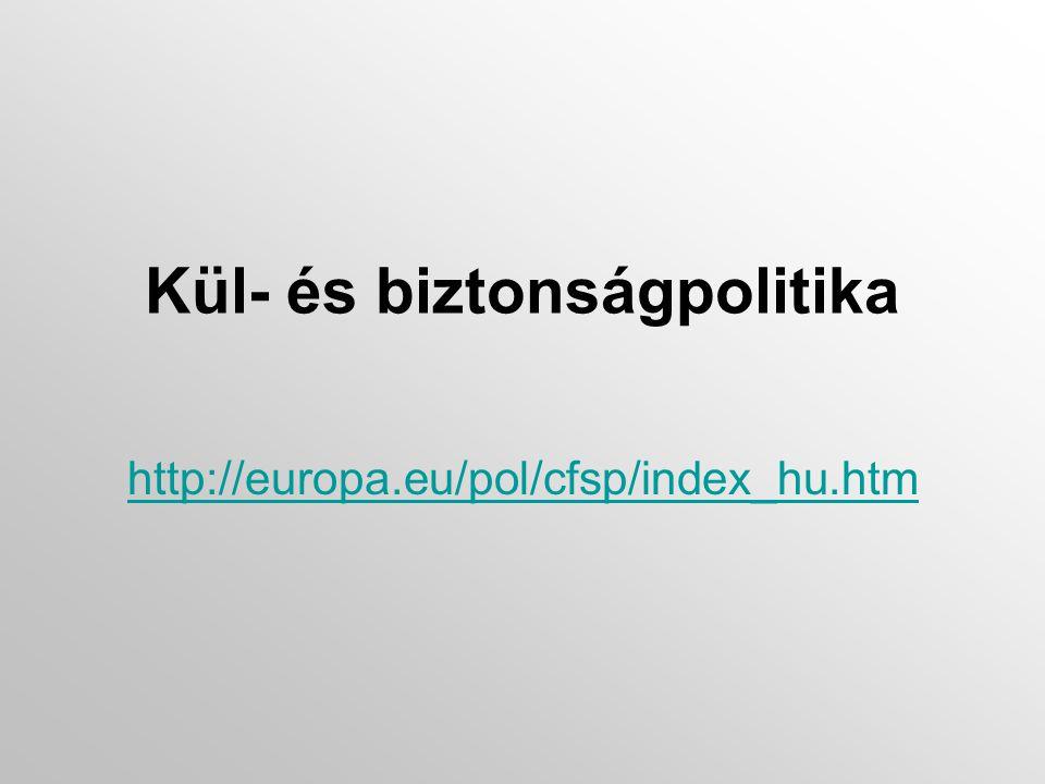 Kül- és biztonságpolitika http://europa.eu/pol/cfsp/index_hu.htm
