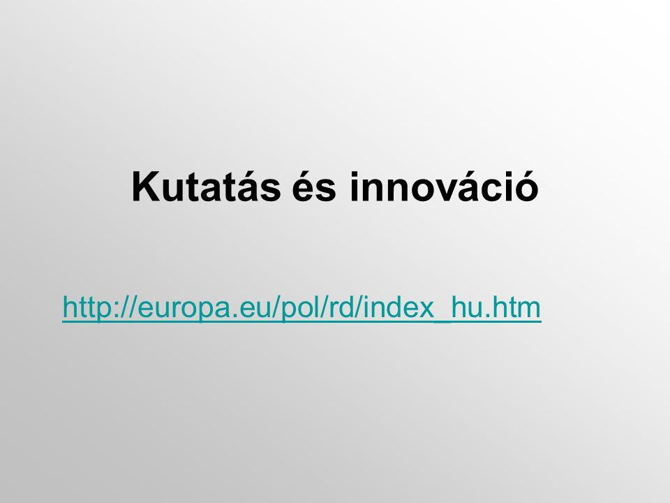Kutatás és innováció http://europa.eu/pol/rd/index_hu.htm
