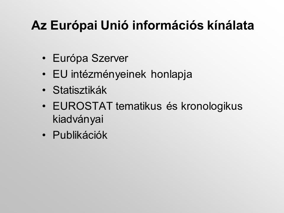 Az Európai Unió információs kínálata •Európa Szerver •EU intézményeinek honlapja •Statisztikák •EUROSTAT tematikus és kronologikus kiadványai •Publikációk