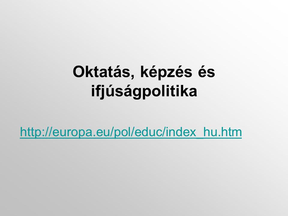 Oktatás, képzés és ifjúságpolitika http://europa.eu/pol/educ/index_hu.htm