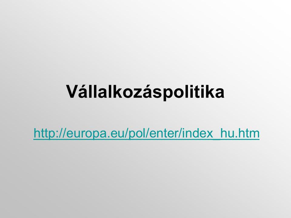 Vállalkozáspolitika http://europa.eu/pol/enter/index_hu.htm