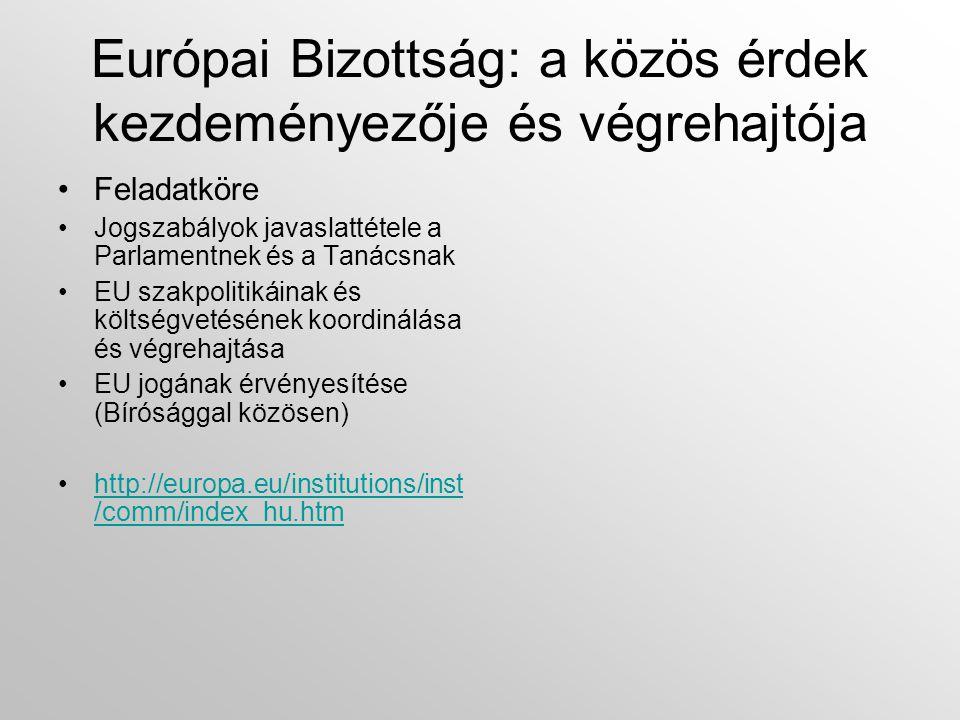 Európai Bizottság: a közös érdek kezdeményezője és végrehajtója •Feladatköre •Jogszabályok javaslattétele a Parlamentnek és a Tanácsnak •EU szakpolitikáinak és költségvetésének koordinálása és végrehajtása •EU jogának érvényesítése (Bírósággal közösen) •http://europa.eu/institutions/inst /comm/index_hu.htmhttp://europa.eu/institutions/inst /comm/index_hu.htm