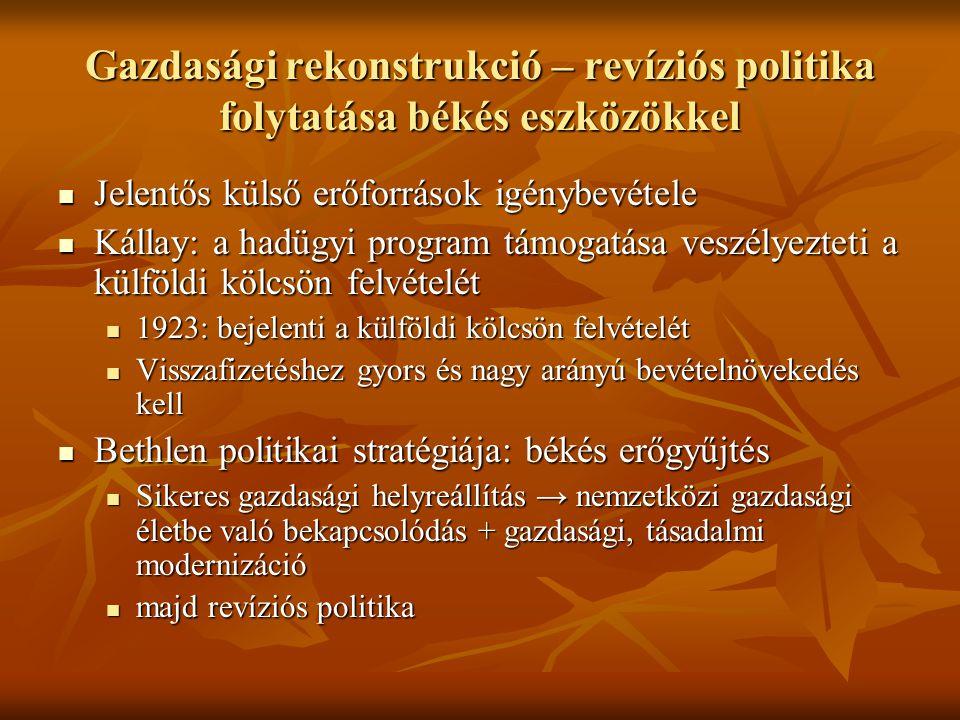 Gazdasági rekonstrukció – revíziós politika folytatása békés eszközökkel  Jelentős külső erőforrások igénybevétele  Kállay: a hadügyi program támogatása veszélyezteti a külföldi kölcsön felvételét  1923: bejelenti a külföldi kölcsön felvételét  Visszafizetéshez gyors és nagy arányú bevételnövekedés kell  Bethlen politikai stratégiája: békés erőgyűjtés  Sikeres gazdasági helyreállítás → nemzetközi gazdasági életbe való bekapcsolódás + gazdasági, tásadalmi modernizáció  majd revíziós politika