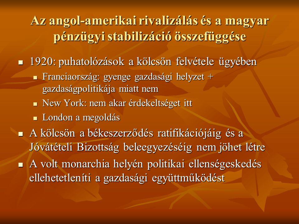 Az angol-amerikai rivalizálás és a magyar pénzügyi stabilizáció összefüggése  1920: puhatolózások a kölcsön felvétele ügyében  Franciaország: gyenge gazdasági helyzet + gazdaságpolitikája miatt nem  New York: nem akar érdekeltséget itt  London a megoldás  A kölcsön a békeszerződés ratifikációjáig és a Jóvátételi Bizottság beleegyezéséig nem jöhet létre  A volt monarchia helyén politikai ellenségeskedés ellehetetleníti a gazdasági együttműködést