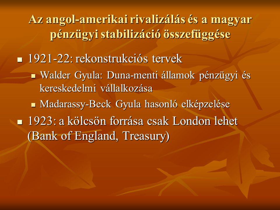 Az angol-amerikai rivalizálás és a magyar pénzügyi stabilizáció összefüggése  1921-22: rekonstrukciós tervek  Walder Gyula: Duna-menti államok pénzügyi és kereskedelmi vállalkozása  Madarassy-Beck Gyula hasonló elképzelése  1923: a kölcsön forrása csak London lehet (Bank of England, Treasury)