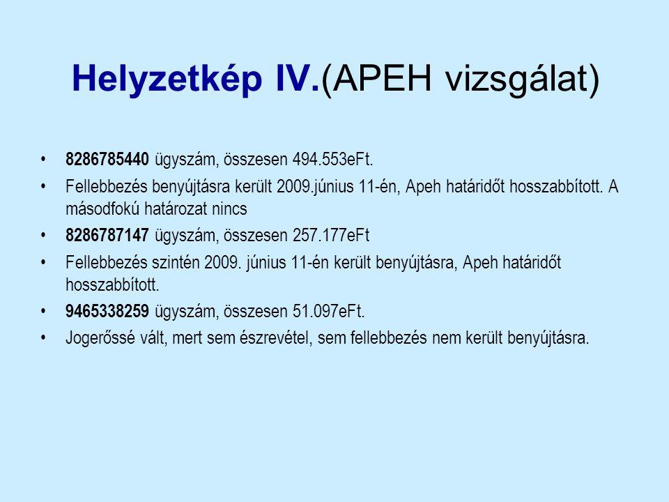 Helyzetkép IV.(APEH vizsgálat) • 8286785440 ügyszám, összesen 494.553eFt. •Fellebbezés benyújtásra került 2009.június 11-én, Apeh határidőt hosszabbít