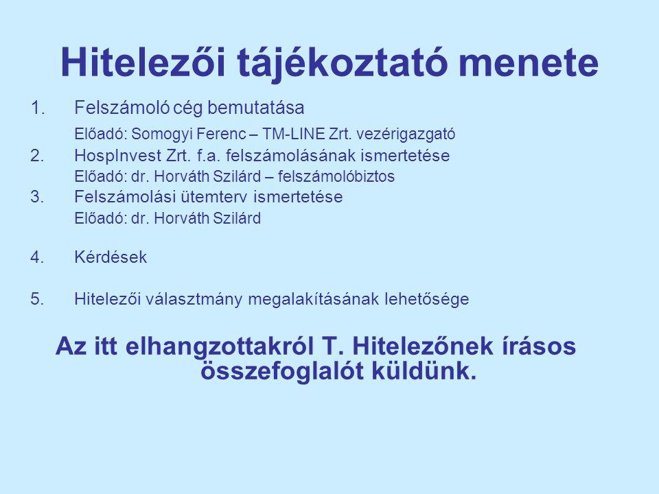 Hitelezői tájékoztató menete 1.Felszámoló cég bemutatása Előadó: Somogyi Ferenc – TM-LINE Zrt. vezérigazgató 2.HospInvest Zrt. f.a. felszámolásának is