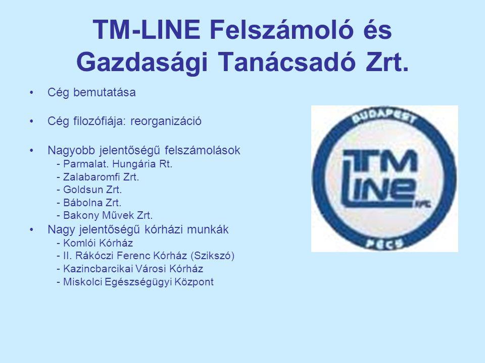 TM-LINE Felszámoló és Gazdasági Tanácsadó Zrt. •Cég bemutatása •Cég filozófiája: reorganizáció •Nagyobb jelentőségű felszámolások - Parmalat. Hungária