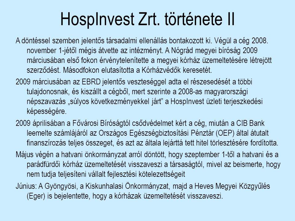 HospInvest Zrt. története II A döntéssel szemben jelentős társadalmi ellenállás bontakozott ki. Végül a cég 2008. november 1-jétől mégis átvette az in
