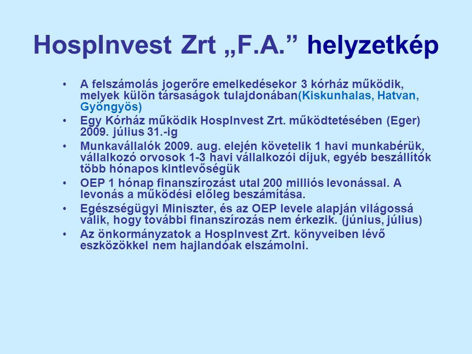 """HospInvest Zrt """"F.A."""" helyzetkép •A felszámolás jogerőre emelkedésekor 3 kórház működik, melyek külön társaságok tulajdonában(Kiskunhalas, Hatvan, Gyö"""
