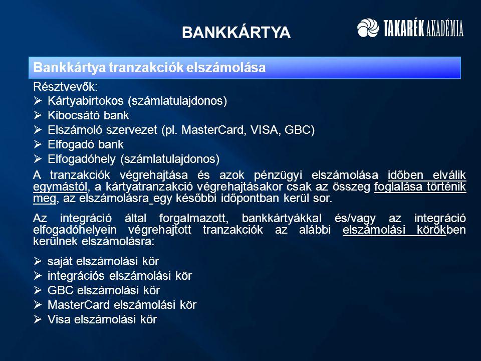 BANKKÁRTYA Bankkártya tranzakciók elszámolása A tranzakciók végrehajtása és azok pénzügyi elszámolása időben elválik egymástól, a kártyatranzakció vég