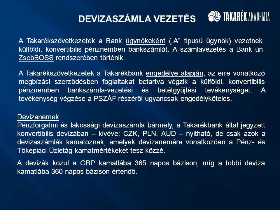 """DEVIZASZÁMLA VEZETÉS A Takarékszövetkezetek a Bank ügynökeként (""""A"""" tipusú ügynök) vezetnek külföldi, konvertibilis pénznemben bankszámlát. A számlave"""