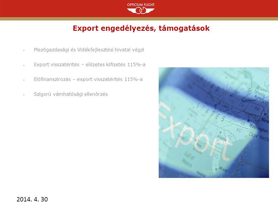 Export engedélyezés, támogatások • Mezőgazdasági és Vidékfejlesztési hivatal végzi • Export visszatérítés – előzetes kifizetés 115%-a • Előfinanszírozás – export visszatérítés 115%-a • Szigorú vámhatósági ellenőrzés 2014.