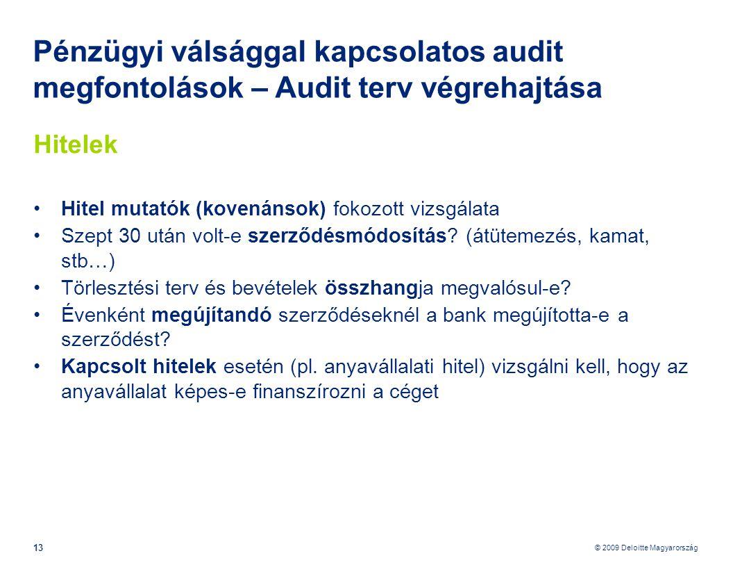 © 2009 Deloitte Magyarország 13 Pénzügyi válsággal kapcsolatos audit megfontolások – Audit terv végrehajtása Hitelek •Hitel mutatók (kovenánsok) fokozott vizsgálata •Szept 30 után volt-e szerződésmódosítás.