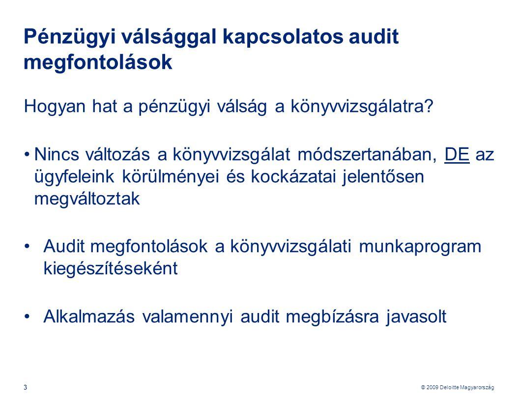 © 2009 Deloitte Magyarország 14 Pénzügyi válsággal kapcsolatos audit megfontolások – Audit terv végrehajtása Szállítók •Szállítói korosítás vizsgálata, potenciális likviditási nehézségek •Egy vagy kevés számú beszállító - vizsgáljuk meg a pénzügyi krízis ezen szállítókra gyakorolt hatását.