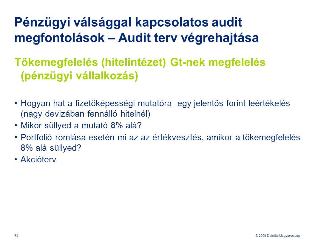 © 2009 Deloitte Magyarország 32 Pénzügyi válsággal kapcsolatos audit megfontolások – Audit terv végrehajtása Tőkemegfelelés (hitelintézet) Gt-nek megfelelés (pénzügyi vállalkozás) •Hogyan hat a fizetőképességi mutatóra egy jelentős forint leértékelés (nagy devizában fennálló hitelnél) •Mikor süllyed a mutató 8% alá.