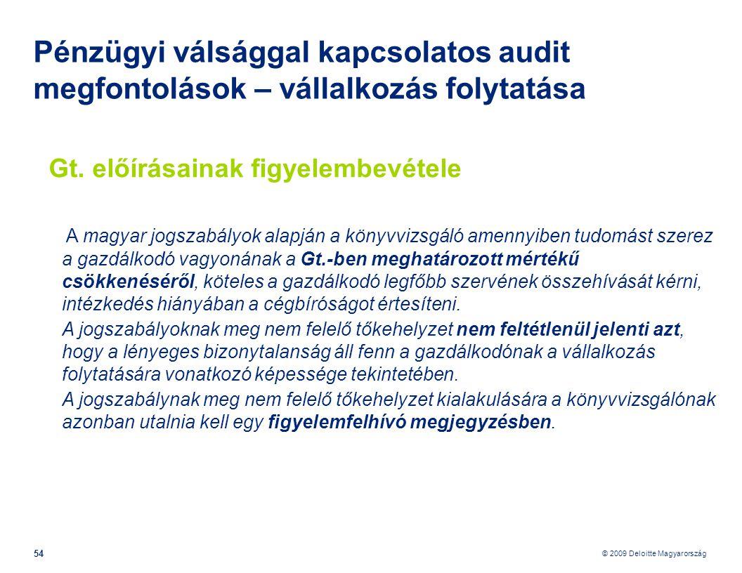 © 2009 Deloitte Magyarország 54 Pénzügyi válsággal kapcsolatos audit megfontolások – vállalkozás folytatása Gt.