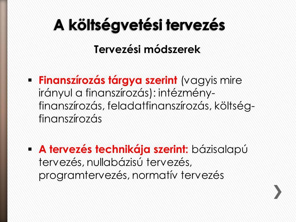 Tervezési módszerek  Finanszírozás tárgya szerint (vagyis mire irányul a finanszírozás): intézmény- finanszírozás, feladatfinanszírozás, költség- fin