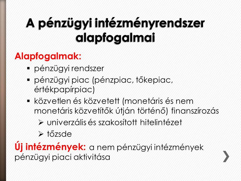 Alapfogalmak:  pénzügyi rendszer  pénzügyi piac (pénzpiac, tőkepiac, értékpapírpiac)  közvetlen és közvetett (monetáris és nem monetáris közvetítők