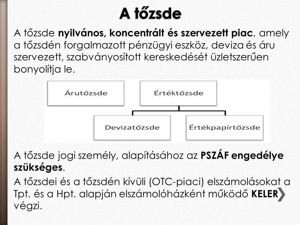 A tőzsde nyilvános, koncentrált és szervezett piac, amely a tőzsdén forgalmazott pénzügyi eszköz, deviza és áru szervezett, szabványosított kereskedés