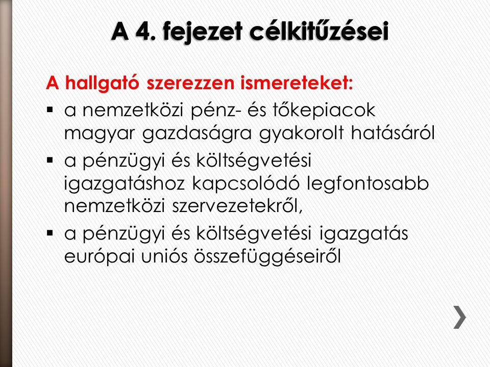 A hallgató szerezzen ismereteket:  a nemzetközi pénz- és tőkepiacok magyar gazdaságra gyakorolt hatásáról  a pénzügyi és költségvetési igazgatáshoz