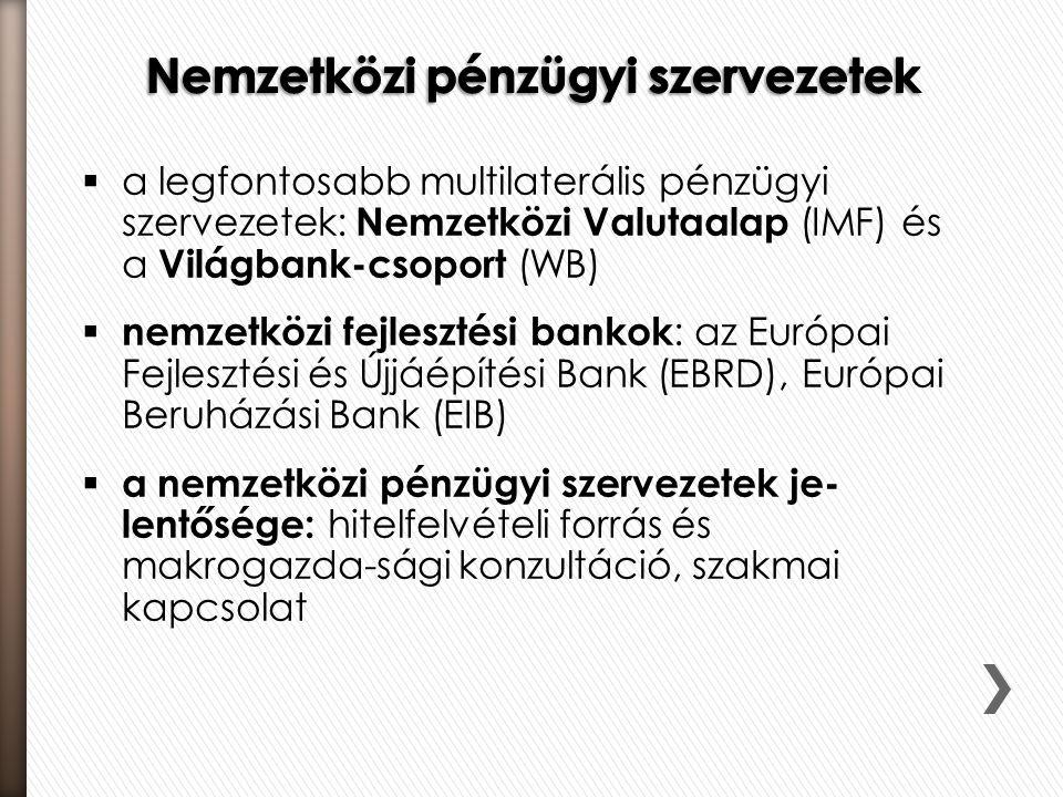  a legfontosabb multilaterális pénzügyi szervezetek: Nemzetközi Valutaalap (IMF) és a Világbank-csoport (WB)  nemzetközi fejlesztési bankok : az Eur