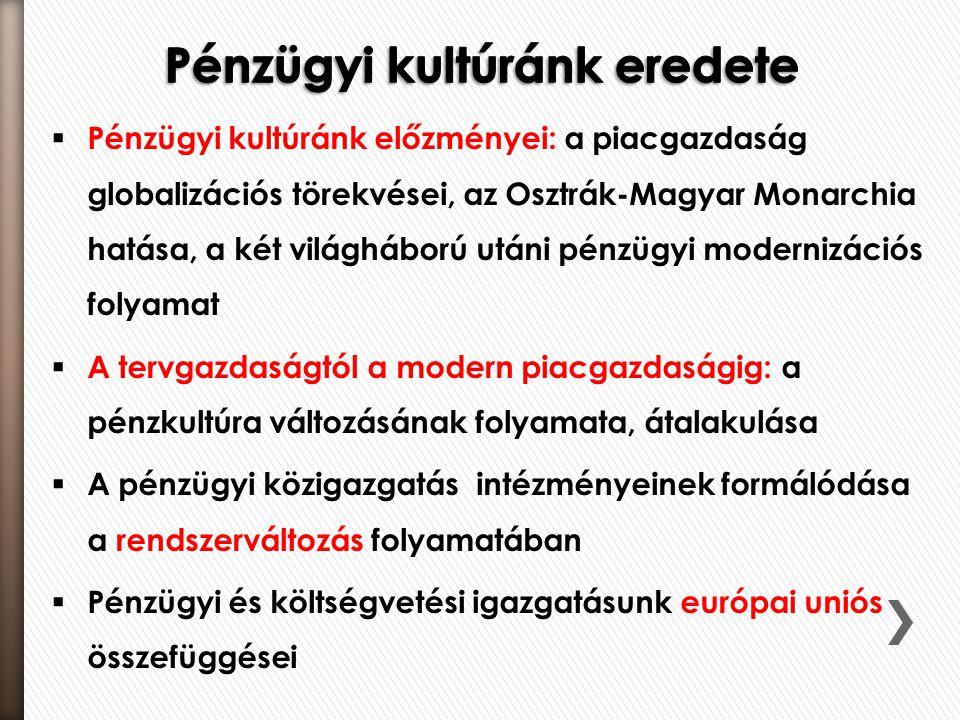  Pénzügyi kultúránk előzményei: a piacgazdaság globalizációs törekvései, az Osztrák-Magyar Monarchia hatása, a két világháború utáni pénzügyi moderni