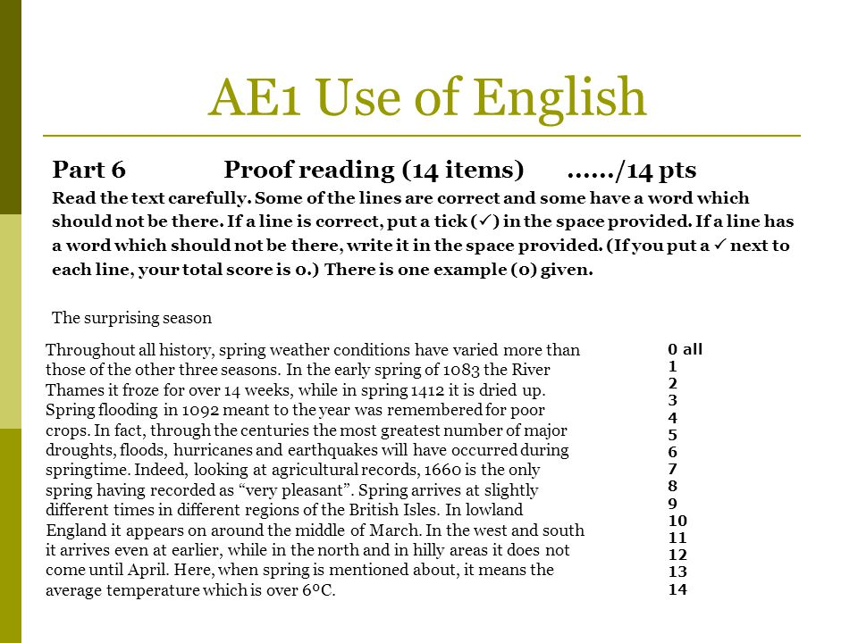 AE1 Use of English Part 6Proof reading (14 items)....../14 pts Read the text carefully. Some of the lines are correct and some have a word which shoul