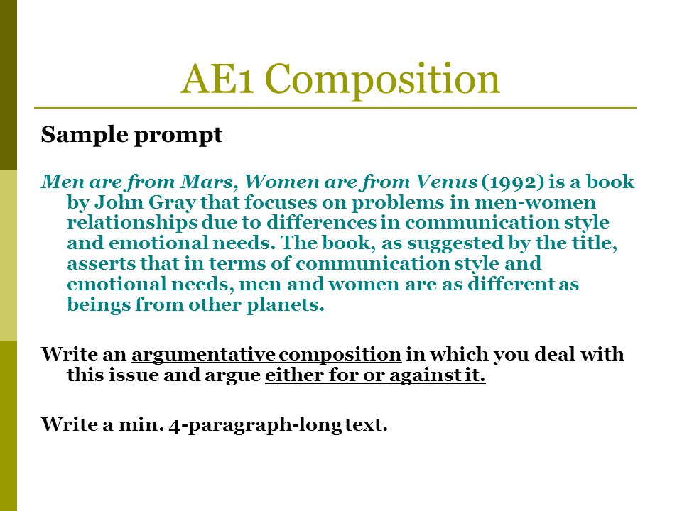 AE1 Composition Sample prompt Men are from Mars, Women are from Venus (1992) is a book by John Gray that focuses on problems in men-women relationship