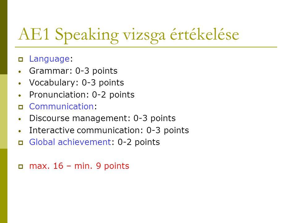 AE1 Speaking vizsga értékelése  Language: • Grammar: 0-3 points • Vocabulary: 0-3 points • Pronunciation: 0-2 points  Communication: • Discourse man