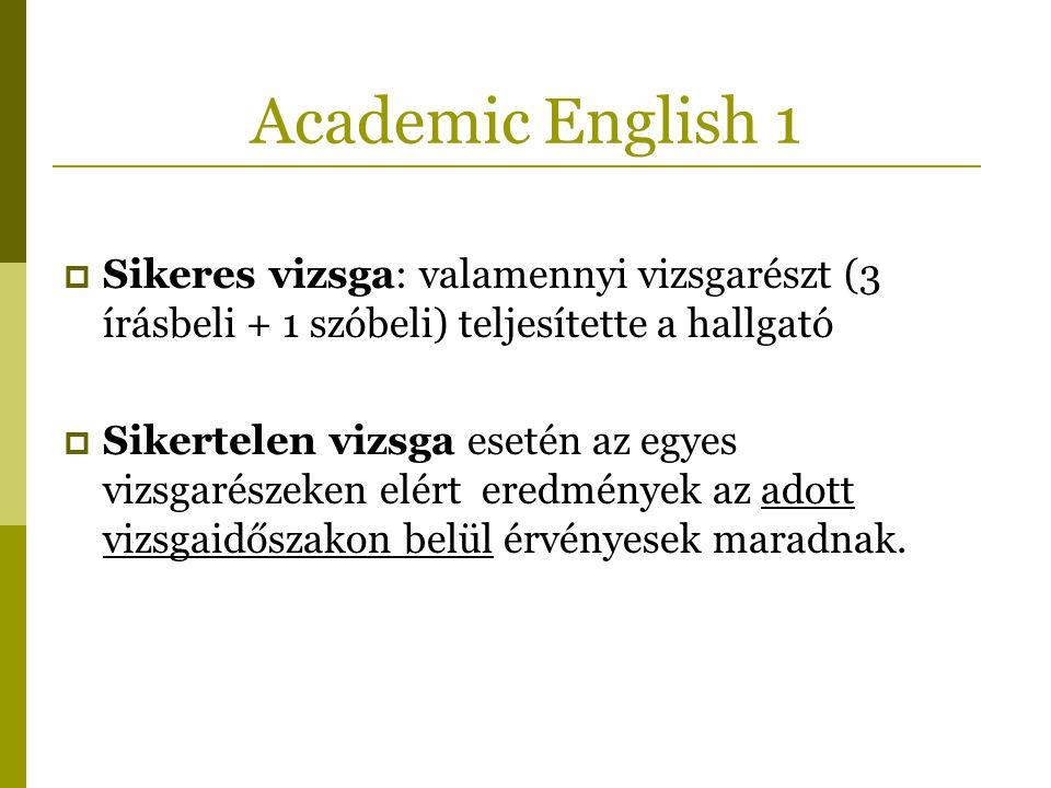 Academic English 1  Sikeres vizsga: valamennyi vizsgarészt (3 írásbeli + 1 szóbeli) teljesítette a hallgató  Sikertelen vizsga esetén az egyes vizsg