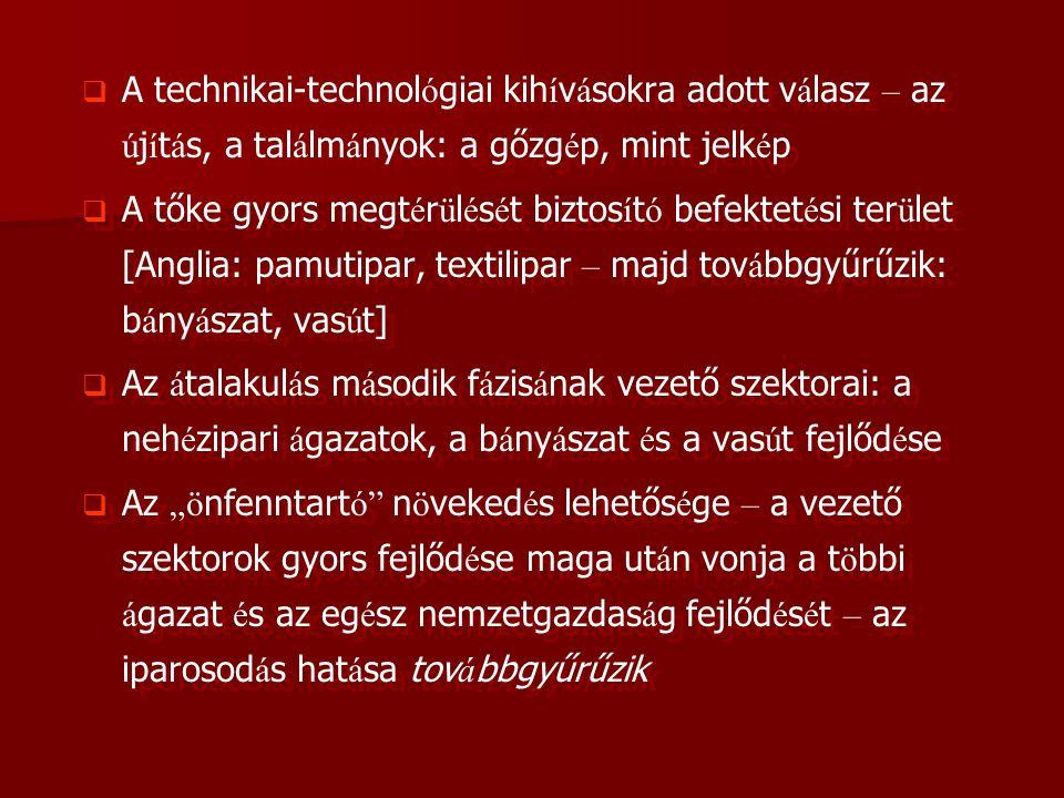   A technikai-technol ó giai kih í v á sokra adott v á lasz – az ú j í t á s, a tal á lm á nyok: a gőzg é p, mint jelk é p   A tőke gyors megt é r