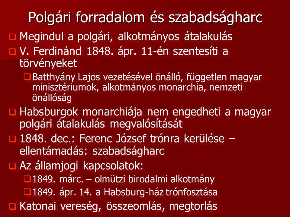 Polgári forradalom és szabadságharc   Megindul a polgári, alkotmányos átalakulás   V. Ferdinánd 1848. ápr. 11-én szentesíti a törvényeket   Batt