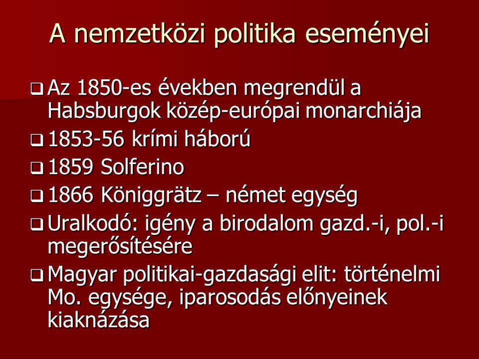 A nemzetközi politika eseményei  Az 1850-es években megrendül a Habsburgok közép-európai monarchiája  1853-56 krími háború  1859 Solferino  1866 Königgrätz – német egység  Uralkodó: igény a birodalom gazd.-i, pol.-i megerősítésére  Magyar politikai-gazdasági elit: történelmi Mo.