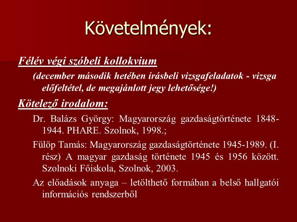 Követelmények: Félév végi szóbeli kollokvium (december második hetében írásbeli vizsgafeladatok - vizsga előfeltétel, de megajánlott jegy lehetősége!) Kötelező irodalom: Dr.