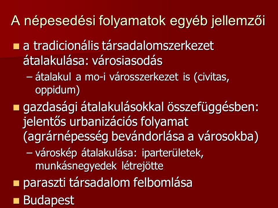A népesedési folyamatok egyéb jellemzői  a tradicionális társadalomszerkezet átalakulása: városiasodás –átalakul a mo-i városszerkezet is (civitas, oppidum)  gazdasági átalakulásokkal összefüggésben: jelentős urbanizációs folyamat (agrárnépesség bevándorlása a városokba) –városkép átalakulása: iparterületek, munkásnegyedek létrejötte  paraszti társadalom felbomlása  Budapest