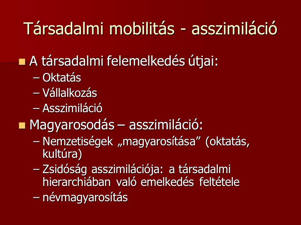Társadalmi mobilitás - asszimiláció  A társadalmi felemelkedés útjai: –Oktatás –Vállalkozás –Asszimiláció  Magyarosodás – asszimiláció: –Nemzetisége