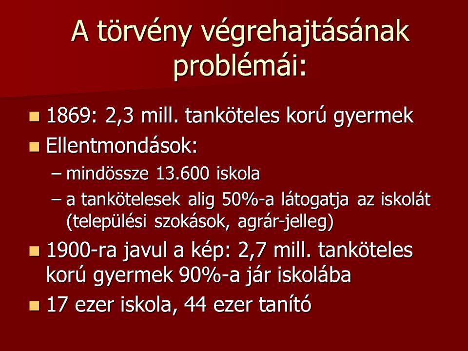 A törvény végrehajtásának problémái:  1869: 2,3 mill. tanköteles korú gyermek  Ellentmondások: –mindössze 13.600 iskola –a tankötelesek alig 50%-a l