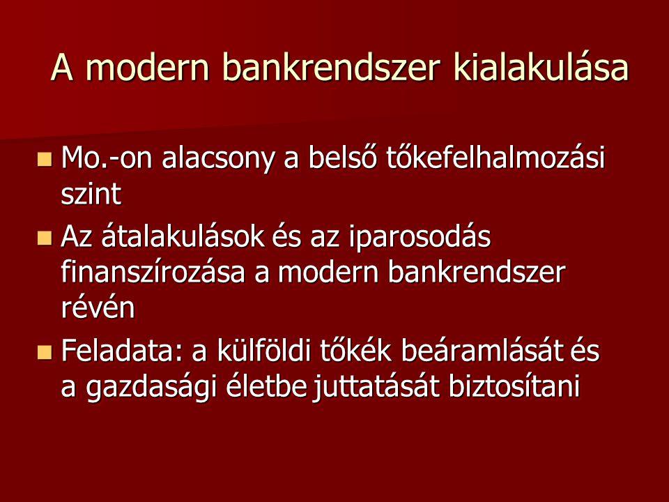 A modern bankrendszer kialakulása  Mo.-on alacsony a belső tőkefelhalmozási szint  Az átalakulások és az iparosodás finanszírozása a modern bankrendszer révén  Feladata: a külföldi tőkék beáramlását és a gazdasági életbe juttatását biztosítani  Mo.-on alacsony a belső tőkefelhalmozási szint  Az átalakulások és az iparosodás finanszírozása a modern bankrendszer révén  Feladata: a külföldi tőkék beáramlását és a gazdasági életbe juttatását biztosítani