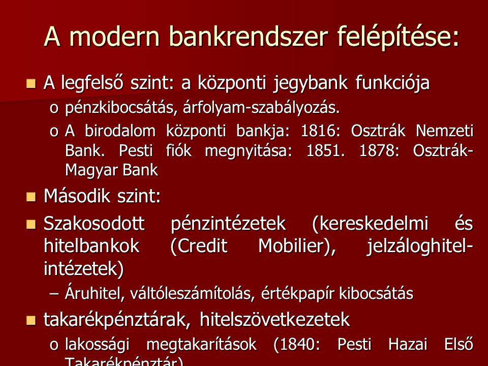A modern bankrendszer felépítése:  A legfelső szint: a központi jegybank funkciója opénzkibocsátás, árfolyam-szabályozás. oA birodalom központi bankj